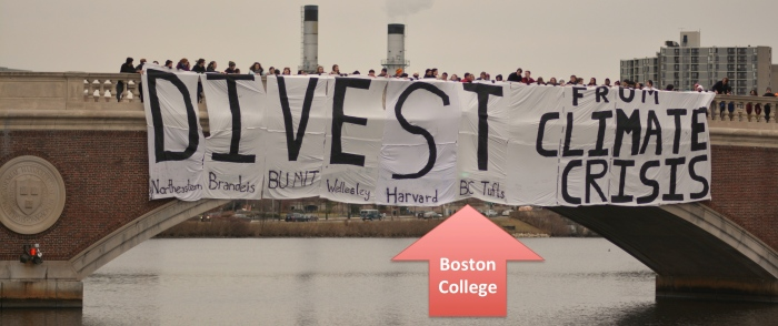 Divest Banner Drop over Charles River