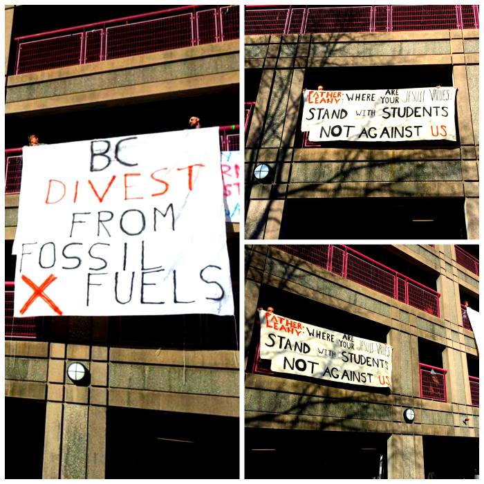 Divest Banner Drop at BC